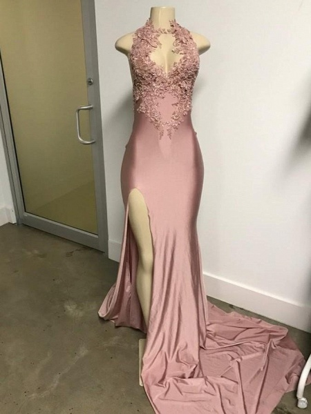 Pink Sleeveless Front Slit Appliqued Long Mermaid Prom Dresses_4