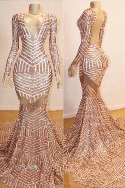 Mermaid Long Sleeves V-neck Sequined Sweep Train Prom Dresses_1