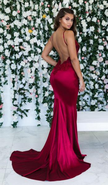 Awesome Spaghetti Straps Appliques Mermaid Prom Dress_3