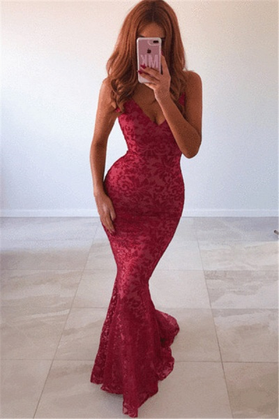 Awesome Spaghetti Straps Lace Mermaid Prom Dress_1