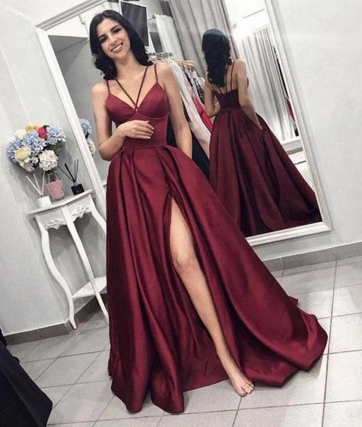Attractive Spaghetti Straps Split Front A-line Evening Dress_2