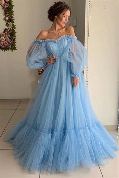 Best Off-the-shoulder Ruffles A-line Prom Dress_1