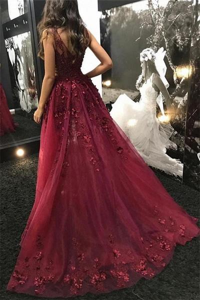 Amazing V-neck Appliques A-line Evening Dress_3