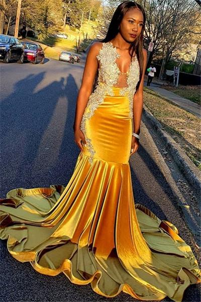 Exquisite Straps Appliques Mermaid Prom Dress_1