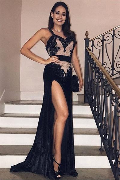 Beautiful Spaghetti Straps Split Front A-line Prom Dress_1