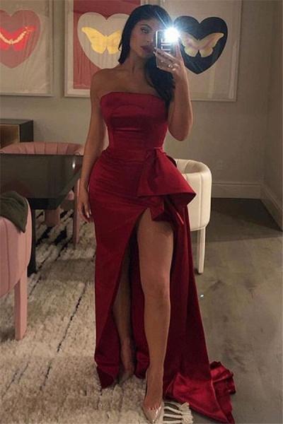 Elegant Strapless Ruffles A-line Prom Dress_1