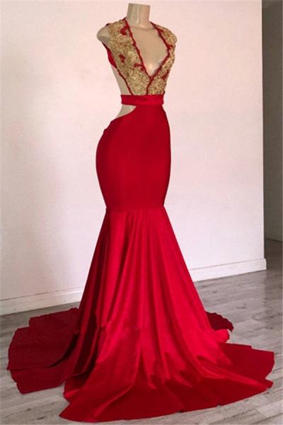 Fascinating Straps Appliques Mermaid Prom Dress_1