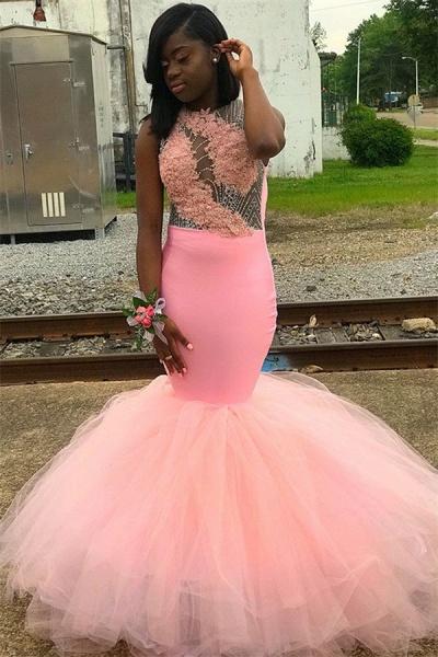 Amazing Jewel Appliques Mermaid Prom Dress_1