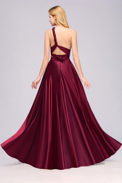 BM0143 Simple A-Line V-Neck Sleeveless Ruffles Floor Length Bridesmaid Dress_37