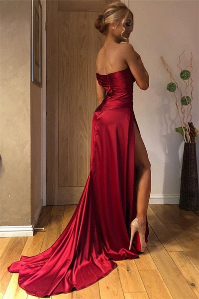 Fascinating Strapless Split Front A-line Prom Dress_2