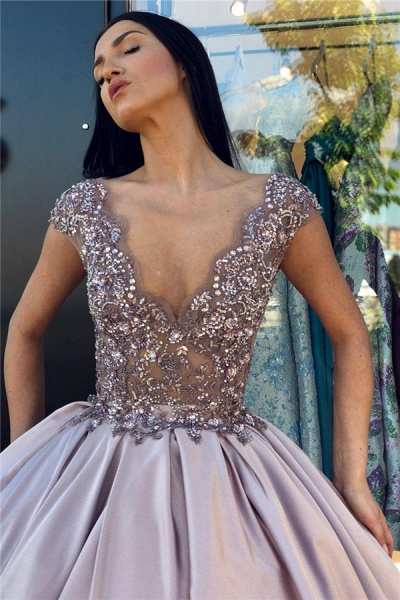 Amazing V-neck Beading Ball Gown Prom Dress_4