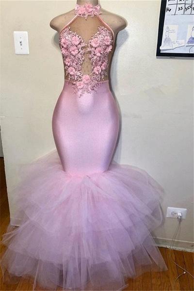 Affordable Halter Flower(s) Mermaid Evening Dress_1