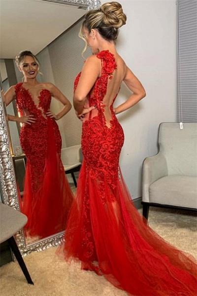 Beautiful One Shoulder Lace Mermaid Prom Dress_2