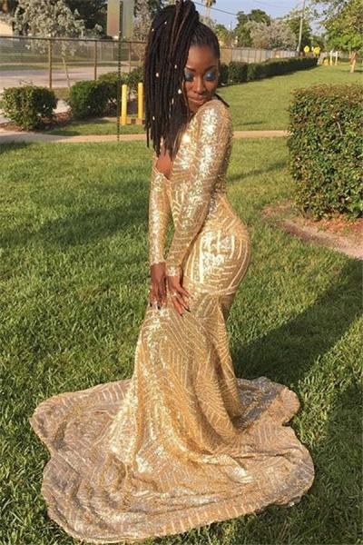 Sleek V-neck Sequined Mermaid Prom Dress_1