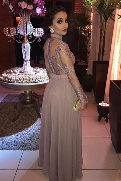 Gorgeous Appliques Tulle Long Sleeve A-Line Evening Dresses_2