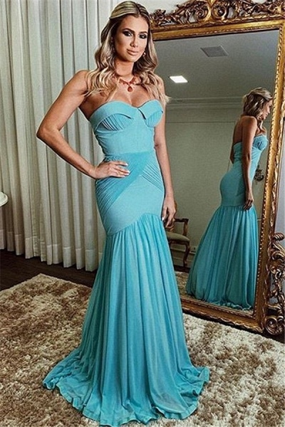 Eye-catching Strapless Ruffles Mermaid Prom Dress_1