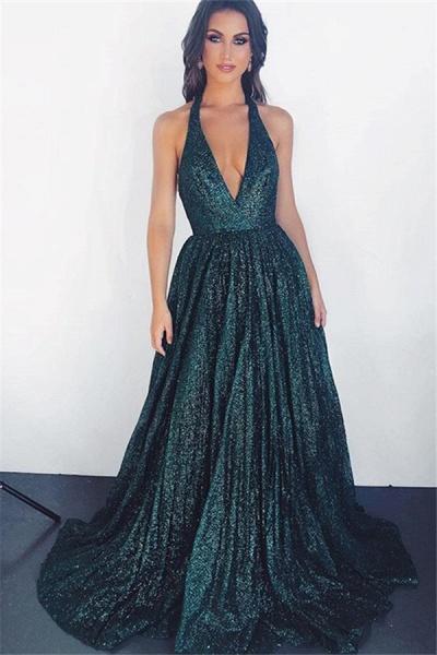 Glamorous V-neck Sparkly Halter A-Line Prom Dress_1