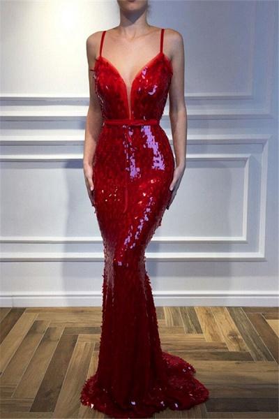 Graceful Spaghetti Straps Sequined Mermaid Prom Dress_2