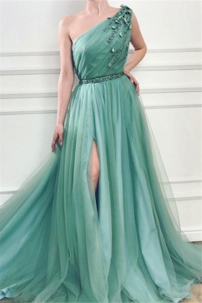 Precious One Shoulder Appliques A-line Prom Dress_1
