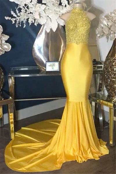 Excellent Straps Appliques Mermaid Prom Dress_1