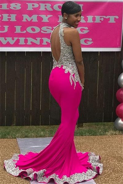 Fascinating High Neck Appliques Mermaid Prom Dress_2