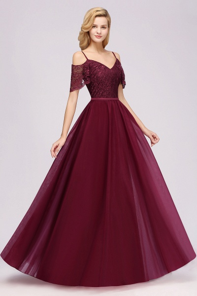 A-Line Chiffon Lace Sweetheart Spaghetti Straps Short-Sleeves Floor-Length Bridesmaid Dresses with Ruffles_3