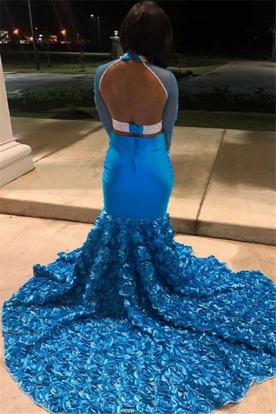 Eye-catching High Neck Flower(s) Mermaid Prom Dress_2