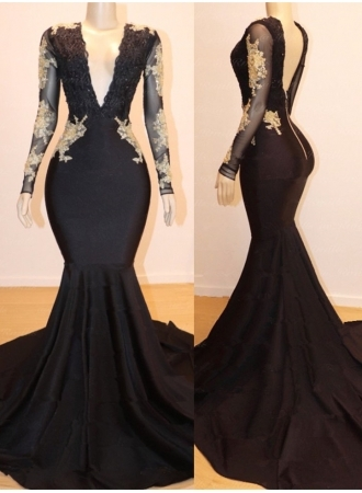 Long Sleeves Appliques Mermaid V-neck Long Prom Dresses_1