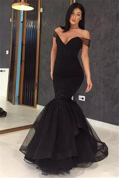 Chic Off-the-shoulder Appliques Mermaid Prom Dress_1