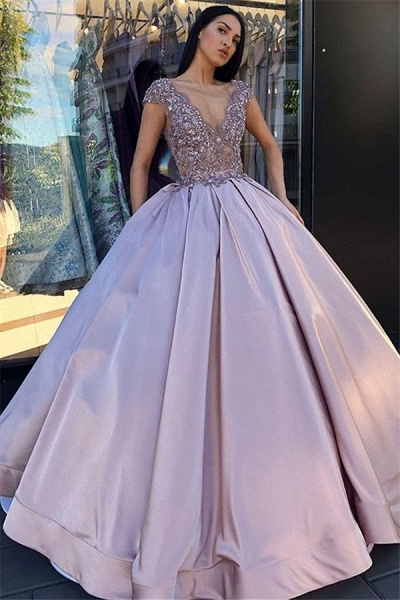 Amazing V-neck Beading Ball Gown Prom Dress_1