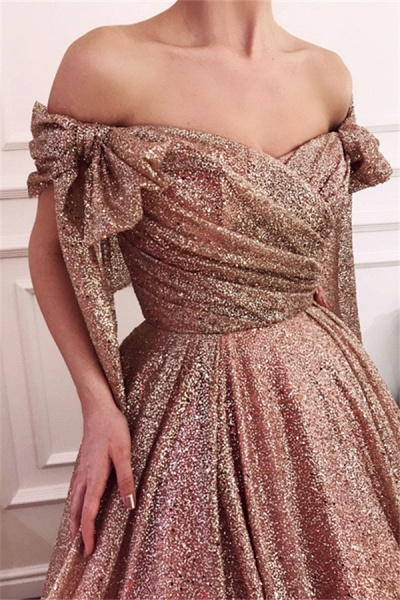 Fascinating Off-the-shoulder Sequined A-line Evening Dress_1