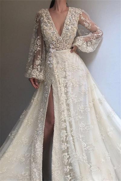 Excellent V-neck Appliques A-line Prom Dress_1