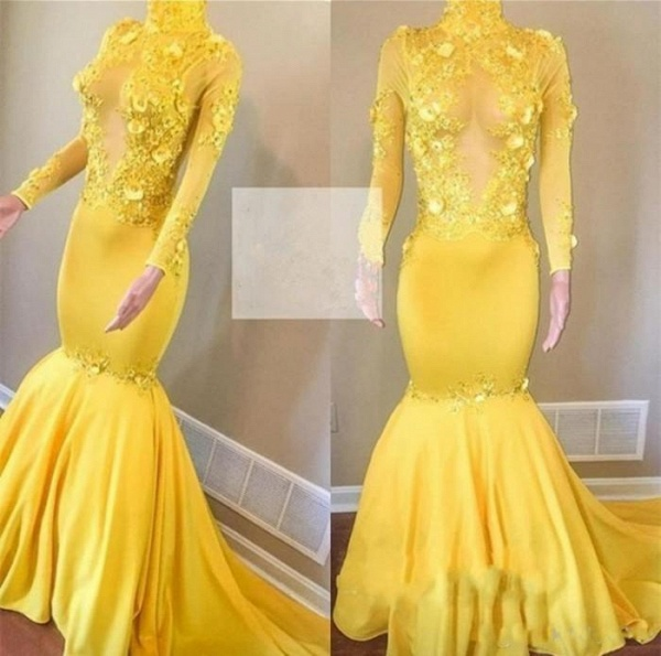 Yellow High Neck Flower Appliques Mermaid Long Sleeves Prom Dresses_3