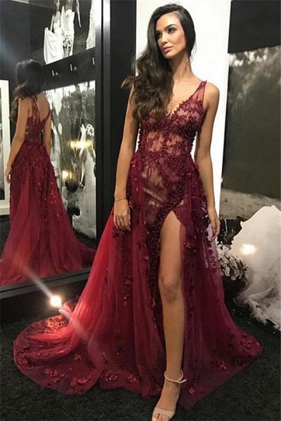Amazing V-neck Appliques A-line Evening Dress_1