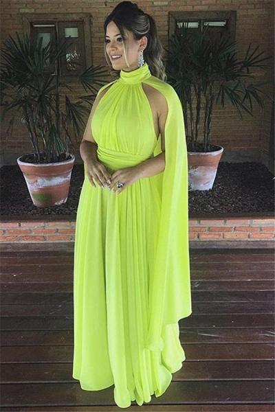 Elegant High Neck A-line Prom Dress_1