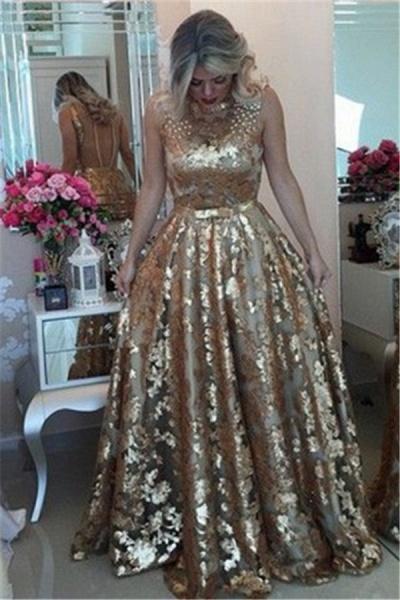 Precious Jewel Appliques A-line Prom Dress_3