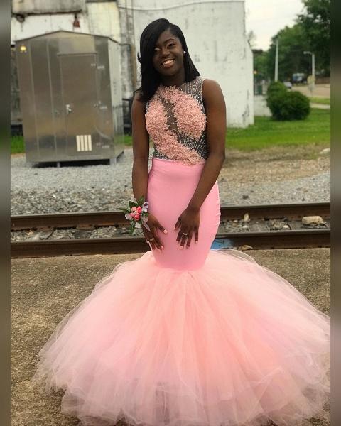 Amazing Jewel Appliques Mermaid Prom Dress_3