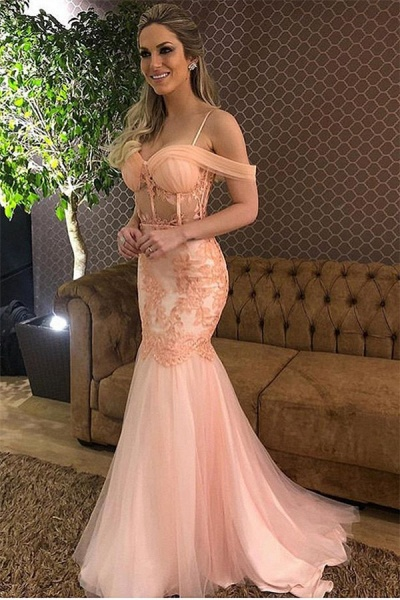 Wonderful Off-the-shoulder Lace Mermaid Prom Dress_1
