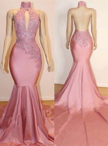 Halter Backless Mermaid Appliques Long Train Prom Dresses_1