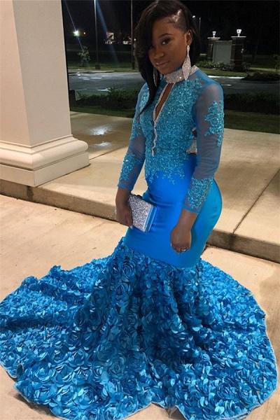 Excellent High Neck Flower(s) Mermaid Prom Dress_3