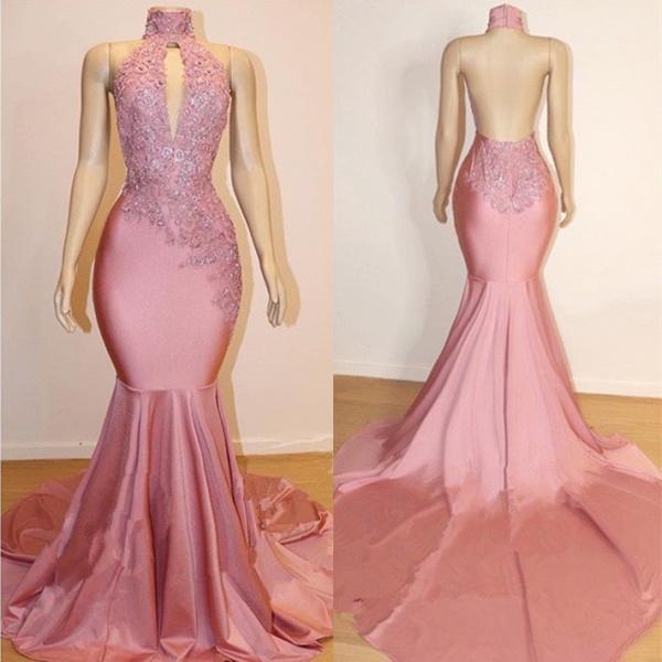 Halter Backless Mermaid Appliques Long Train Prom Dresses_3