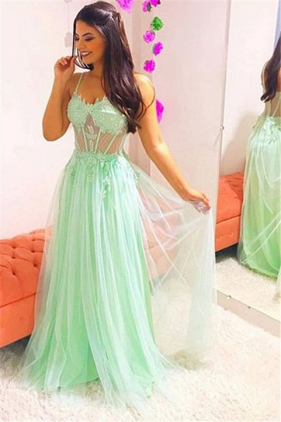 Awesome Spaghetti Straps Appliques A-line Prom Dress_1