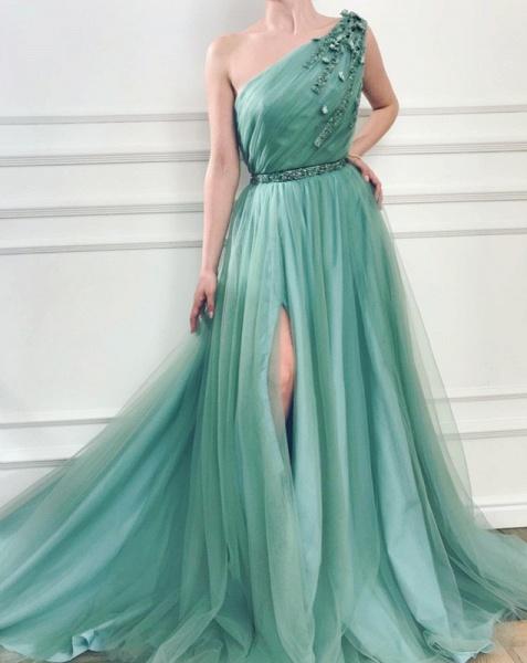 Precious One Shoulder Appliques A-line Prom Dress_2