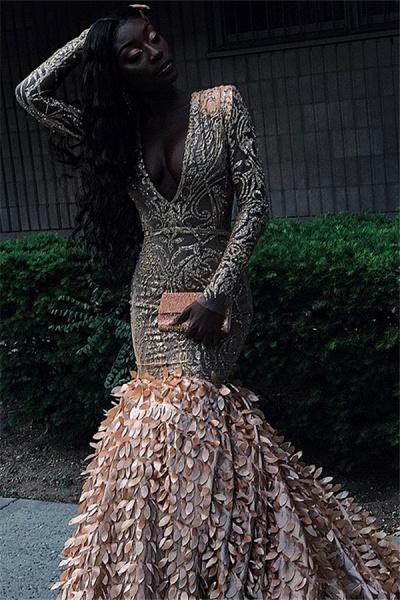 Amazing V-neck Appliques Mermaid Prom Dress_2