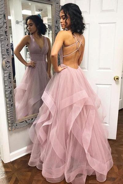 Latest Halter Cascading Ruffle A-line Prom Dress_1
