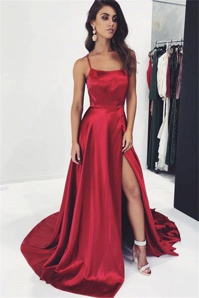 Best Spaghetti Straps Split Front A-line Prom Dress_1