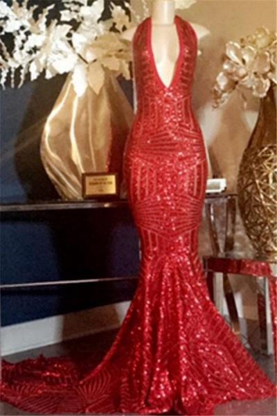 Excellent Halter Sequined Mermaid Prom Dress_1
