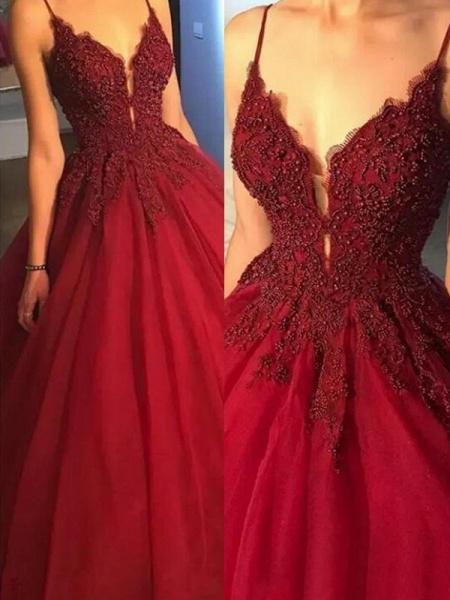 Precious Spaghetti Straps Beading Ball Gown Prom Dress_2