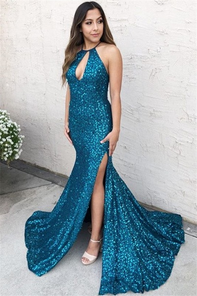 Marvelous Halter Sequined Mermaid Prom Dress_1