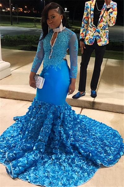 Excellent High Neck Flower(s) Mermaid Prom Dress_1